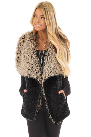 Charcoal Fleece Open Front Vest Jacket