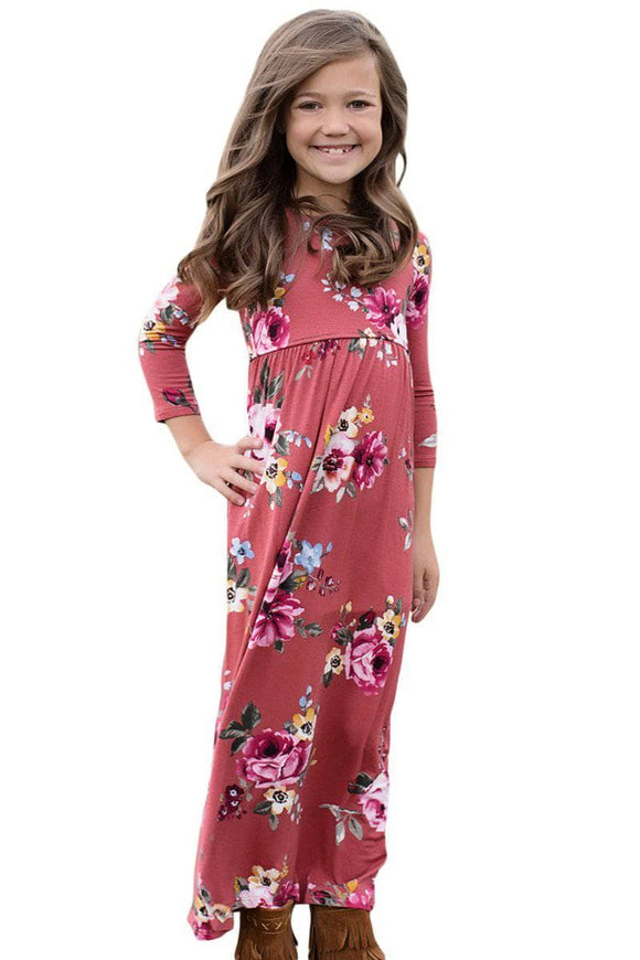 Rosy Floral Maxi Dress for Girls