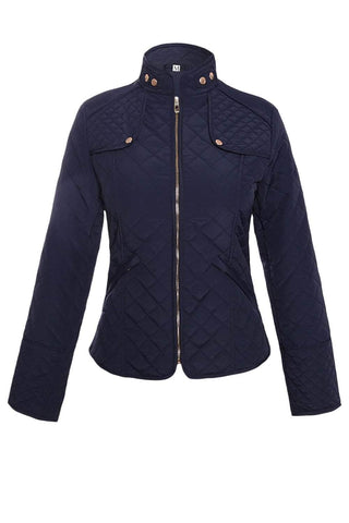 Navy Diamond Plaid Quilted Cotton Jacket by Victory Roze