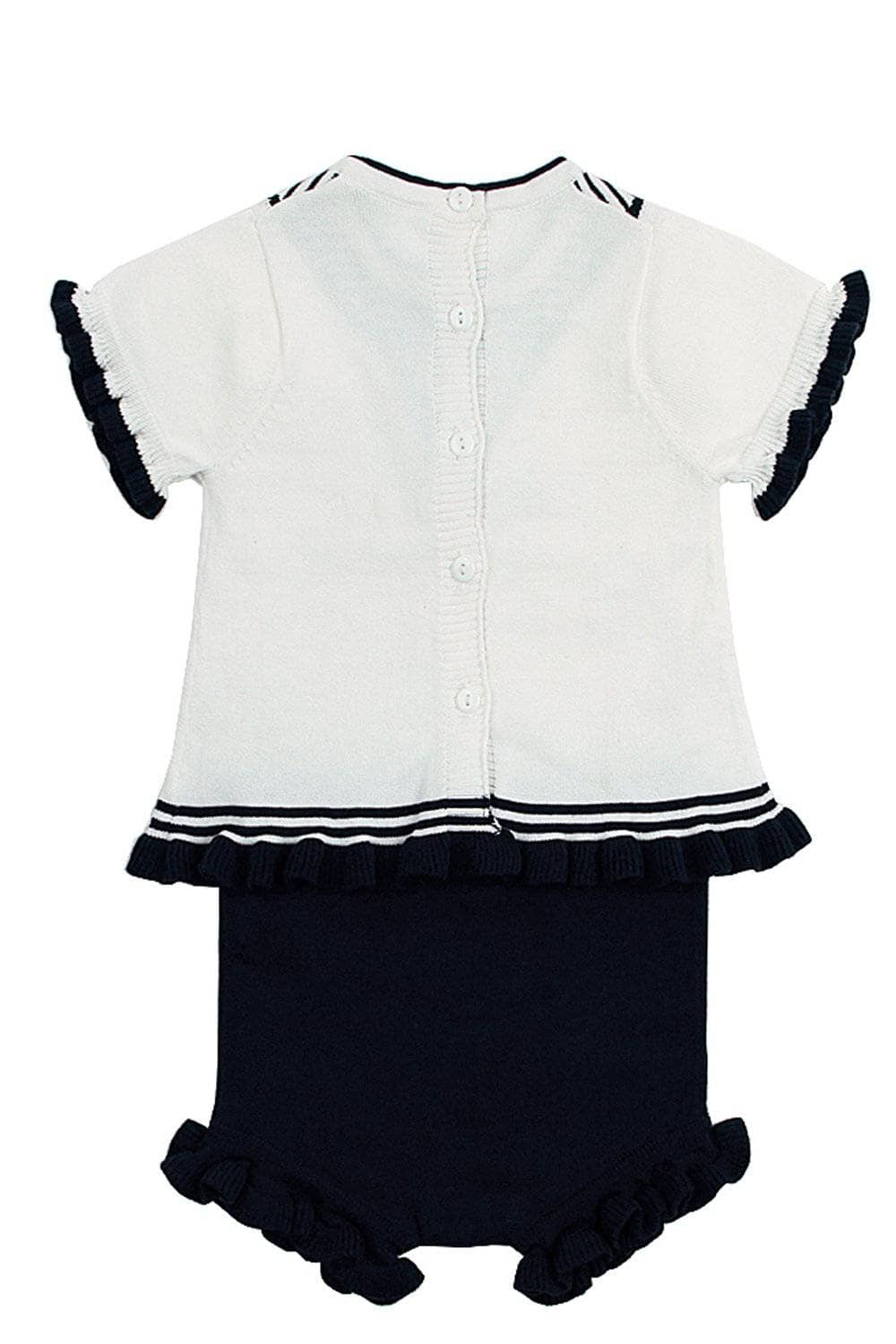 a82b3814cabb White Navy Ruffled T-shirt and Panty Baby Suit by Victory Roze