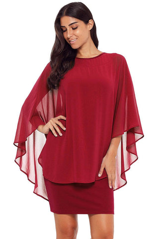Wine Slinky Sexy Gauze Cape Mini Dress