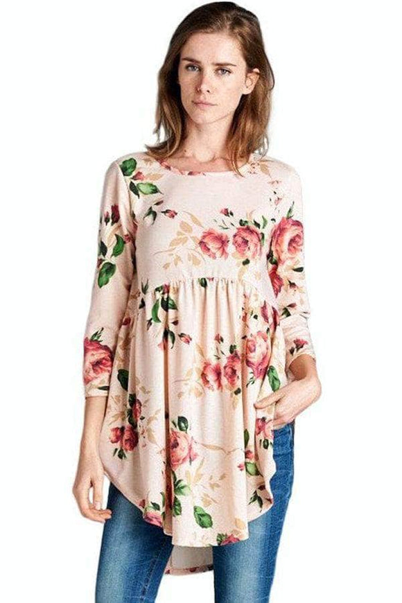 Pink Babydoll Floral Tunic Top