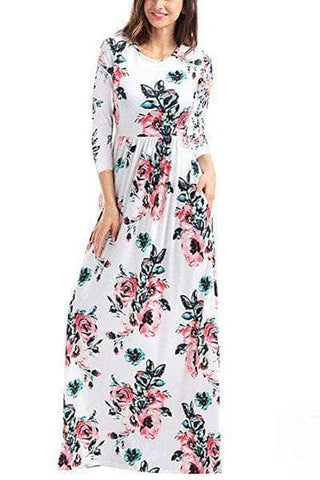 Classic Floral Print White 3/4 Sleeve Maxi Dress