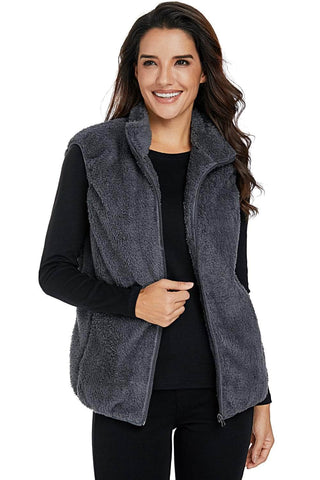 Gray Furry High Neck Vest Jacket