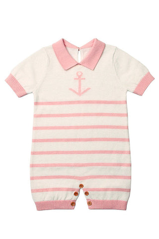 Pink Anchor Stripe Knit Baby Romper Suit by Victory Roze