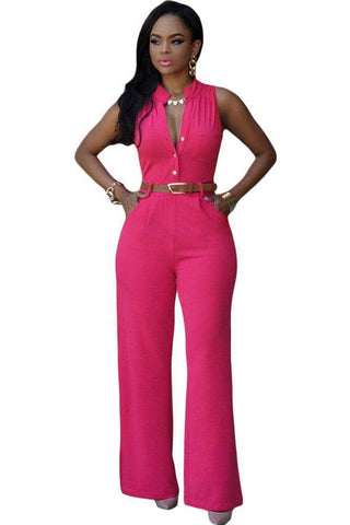 Rosy Belted Wide Leg Jumpsuit