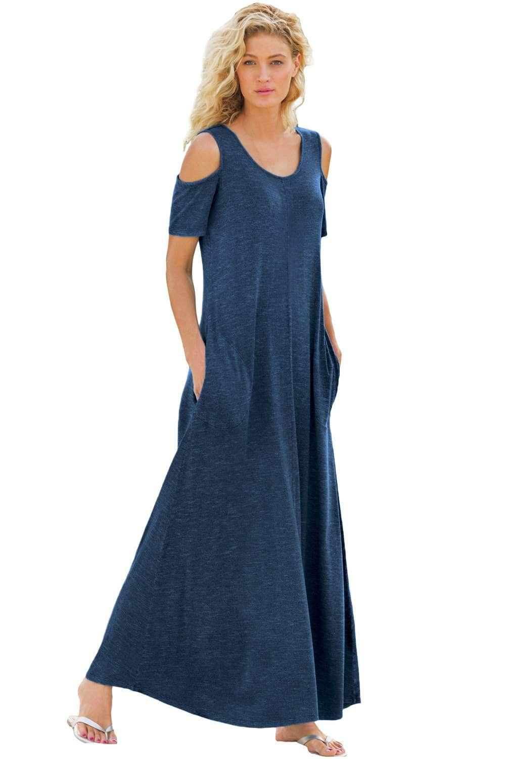 8c18bfd296b Indigo Cold Shoulder Pocket Style Maxi Dress by Victory Roze