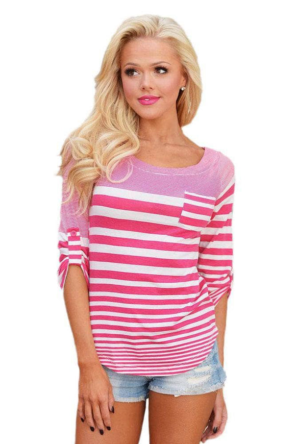 Pink White Striped Long Sleeve Blouse