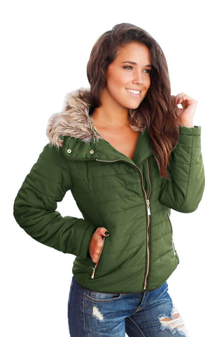 Army Green Faux Fur Collar Trim Black Quilted Jacket