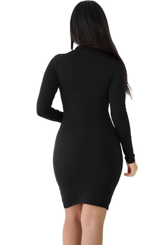 Black Lace-up Corset Cut Out Long Sleeve Dress
