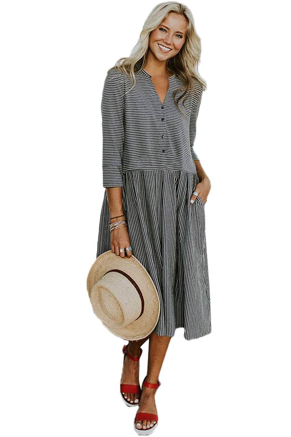 Black Pinstriped Casual Midi Shirt Dress