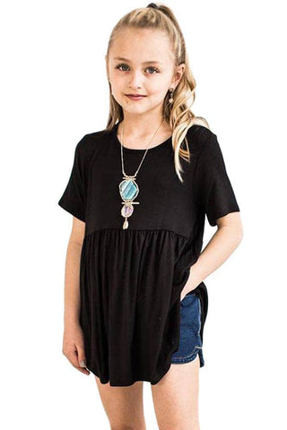 Black Short Sleeve Frilled Little Girl Tunic Top