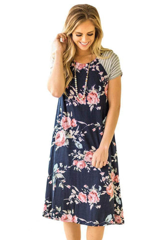 Navy Blue Backdrop Floral Print A-line Loose T-shirt Dress by Victory Roze