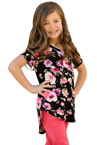 Black Pink Floral Print Girls' Short Sleeve Tee