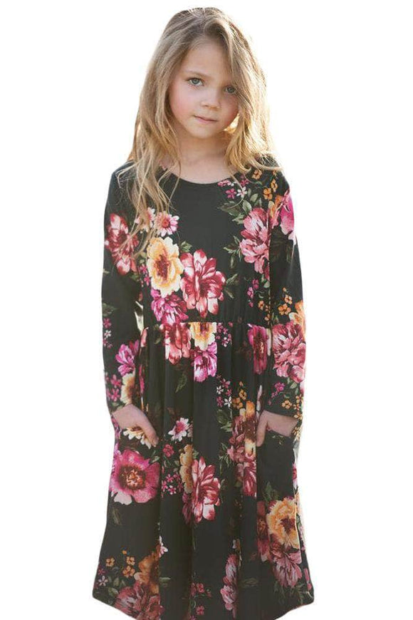 Floral Black Swing Dress with Hidden Pockets