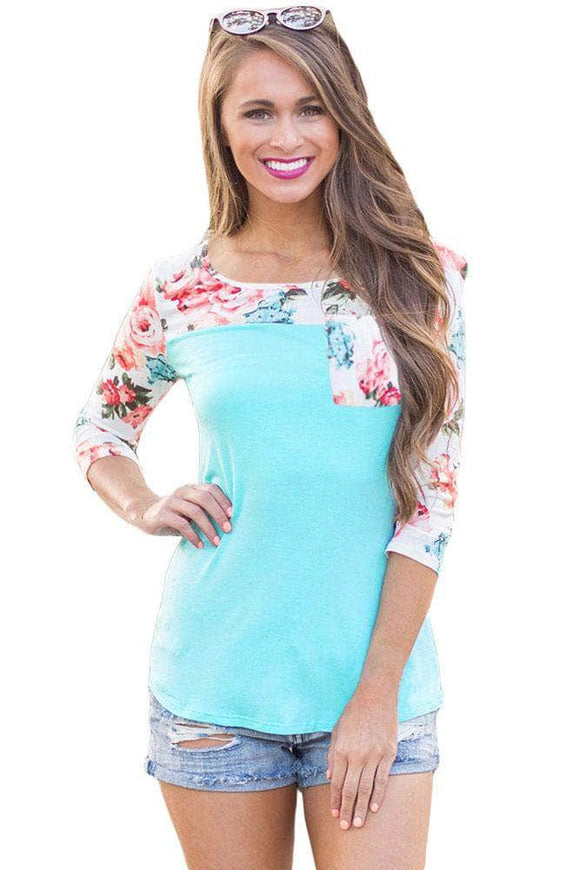 Floral Printed Light Blue Womens Top