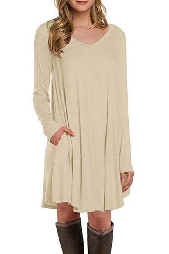 Apricot Long Sleeve Pocket Casual Loose T-shirt Dress