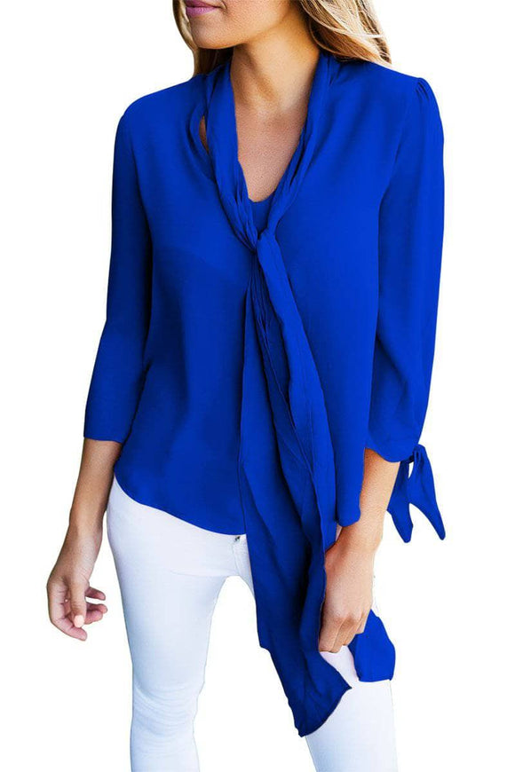 Royal Blue Bow-tie Sleeved Blouse with Necktie
