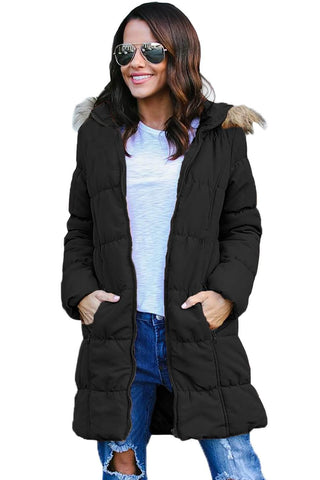 Black Fur Trim Hooded Long Quilted Coat by Victory Roze