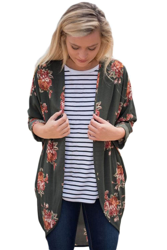 Army Green Floral Kimono Cardigan Loose Cover up