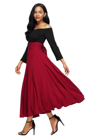 Red Retro High Waist Pleated Belted Maxi Skirt