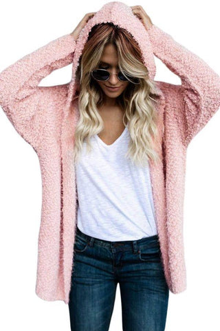 Pink Fluffy Hooded Open Front Cardigan