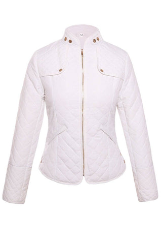 White Diamond Plaid Quilted Cotton Jacket by Victory Roze