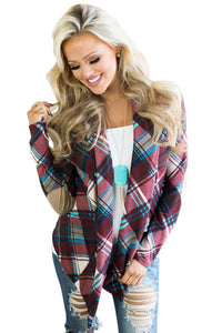 e79ff45a10 Purple Suede Elbow Patch Long Sleeve Plaid Cardigan by Victory Roze