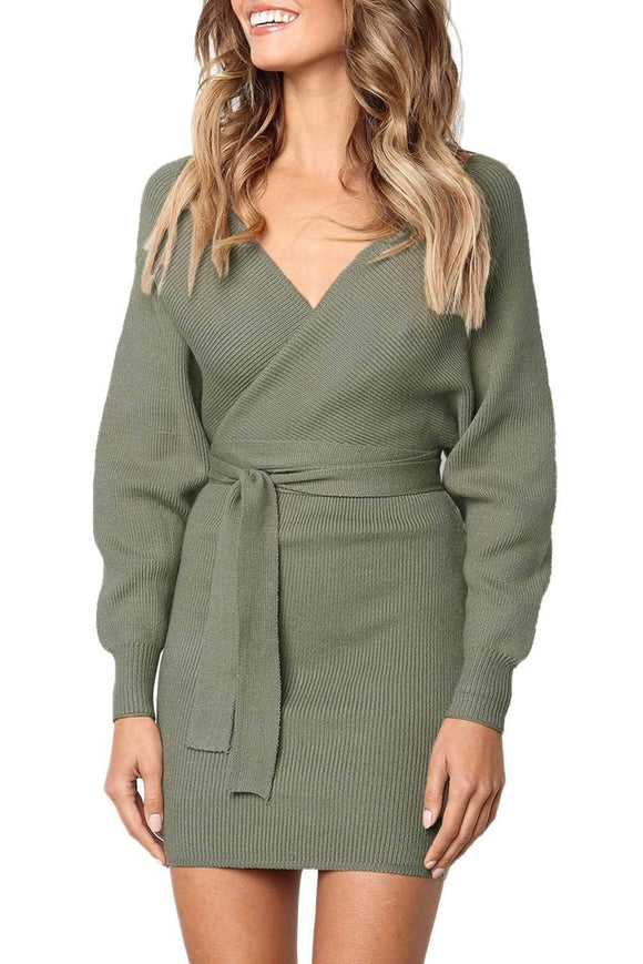8cab4a42a4d Olive Long Sleeve V Neck Tied Sweater Dress