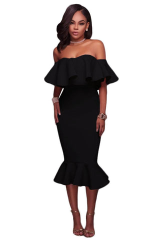Black Ruffle Off Shoulder Mermaid Midi Party Dress