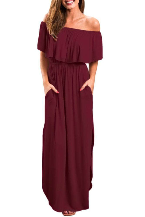 Burgundy Flounce Off Shoulder Maxi Jersey Dress