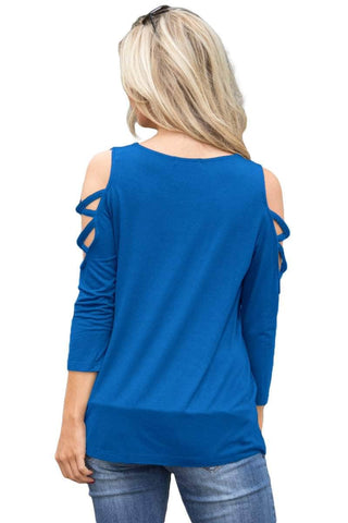 Royal Blue Crisscross Cold Shoulder Quarter Sleeve Blouse