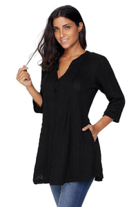 Black Cable Knit Button Neck Swingy Tunic