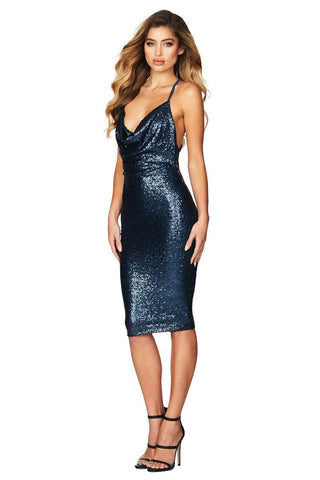 Blue Seductive Sequin Midi Club Dress