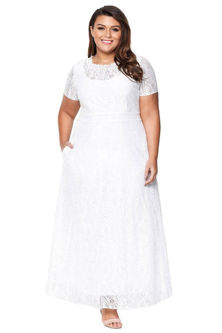 White Plus Size Lace Party Gown by Victory Roze