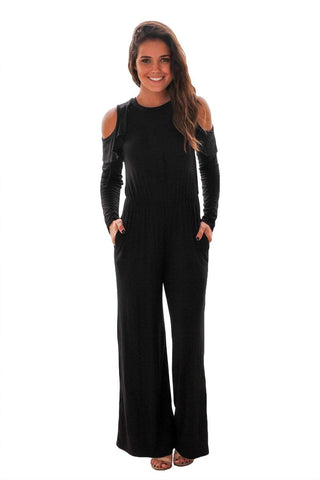 Black Ruffle Cold Shoulder Long Sleeve Jumpsuit