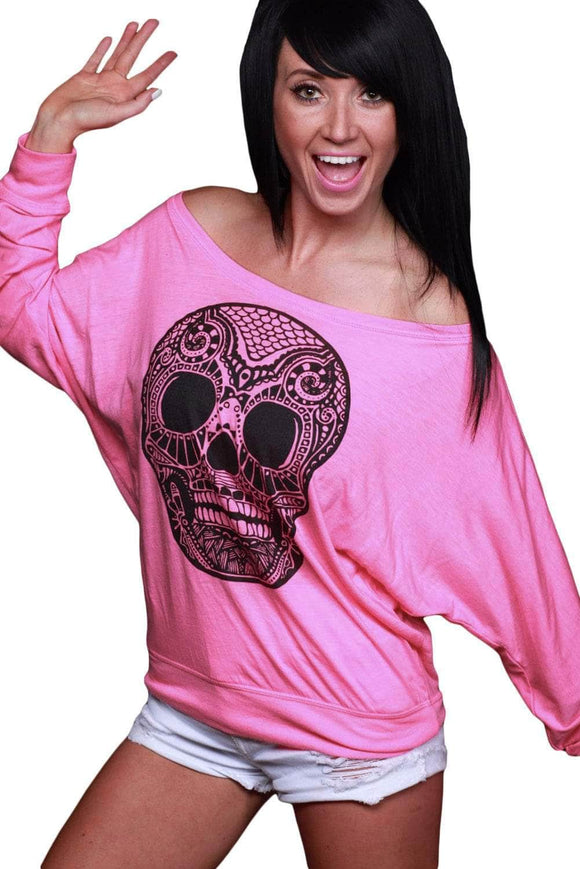 Skull Print Off Neck Pink Long Sleeve T-shirt
