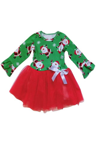 Green Red Santa Snowflack Print Christmas Toddler Dress