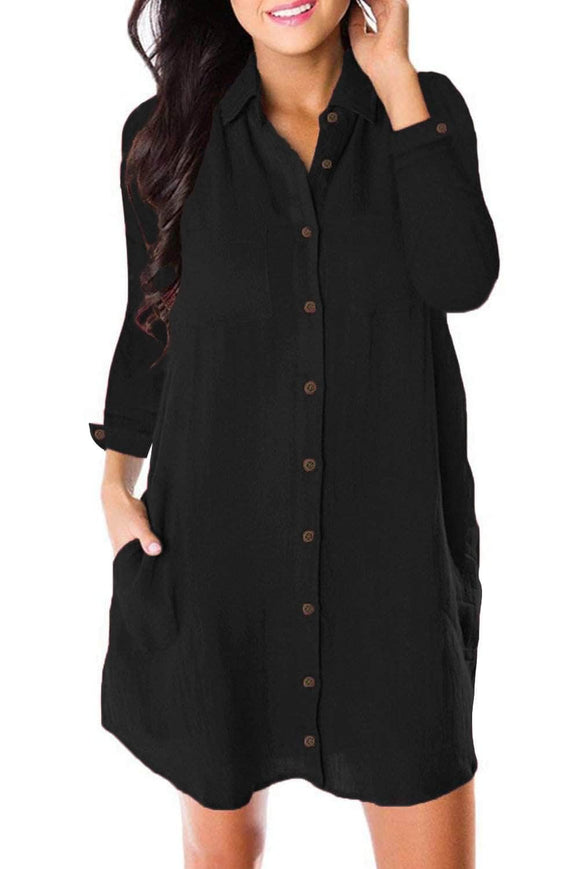 Black Long Sleeve Button Down Crepe Shirt Dress