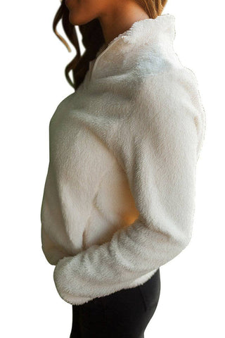 White Fuzzy Zip up Fleece Jacket