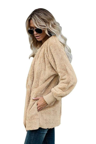 Khaki Soft Fleece Hooded Open Front Coat