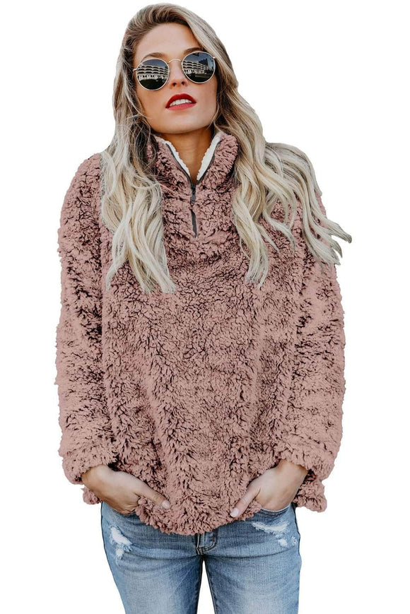 Dusty Pink Zipper Fleece Pullover Coat