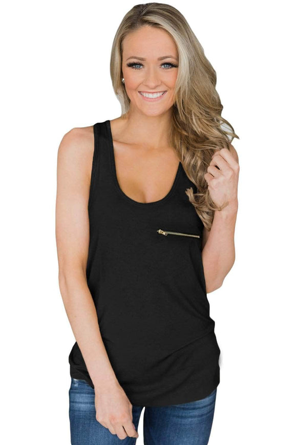 Black Basic Zipper Pocket Tank