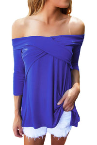 Royal Blue Cross Front Off The Shoulder Top
