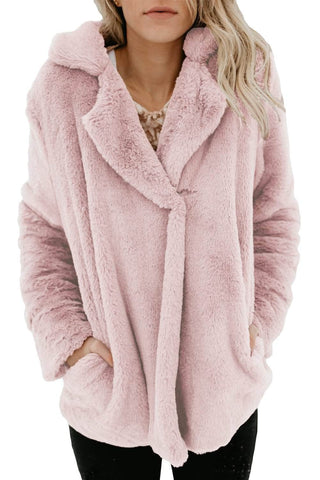 Blush Pocket Style Fluffy Winter Coat