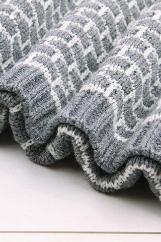 Grey Patterned Cotton Knit Hug Baby Blanket by Victory Roze