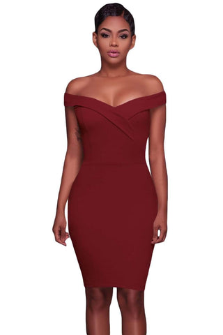 Burgandy Off The Shoulder Mini Dress