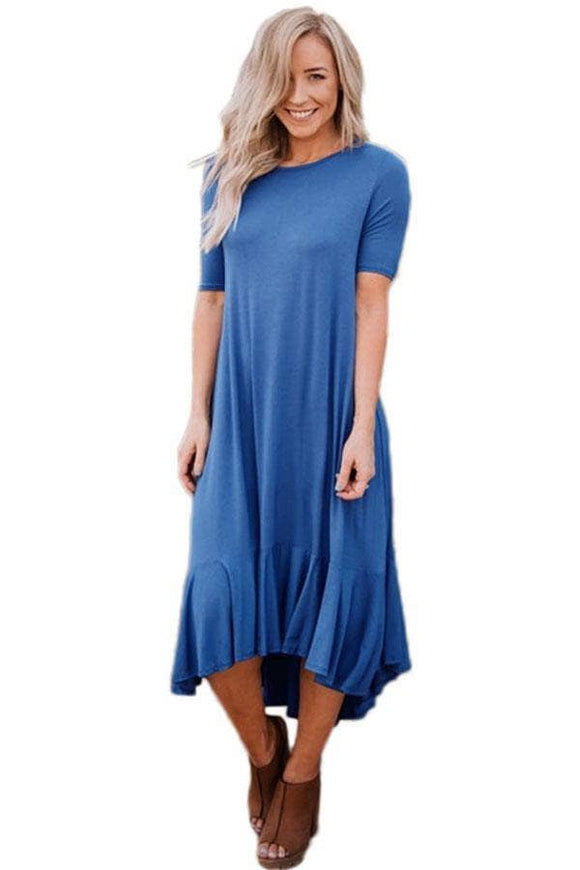 Slate Blue Flowy Ruffles Short Sleeve Casual Dress