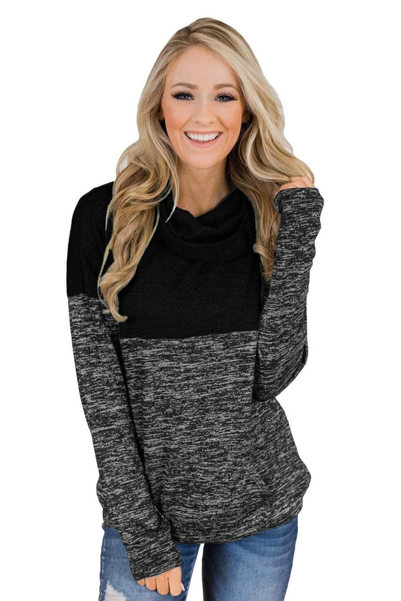 Black Charcoal Color Block Cowl Neck Sweatshirt