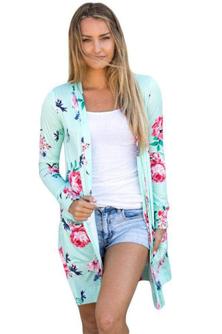 Mint Long Sleeve Floral Cardigan by Victory Roze